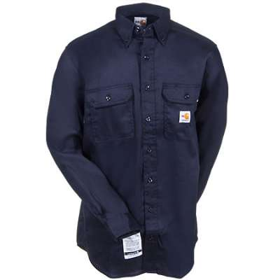 Carhartt Flame Resistant Twill Long Sleeve Shirt, Navy