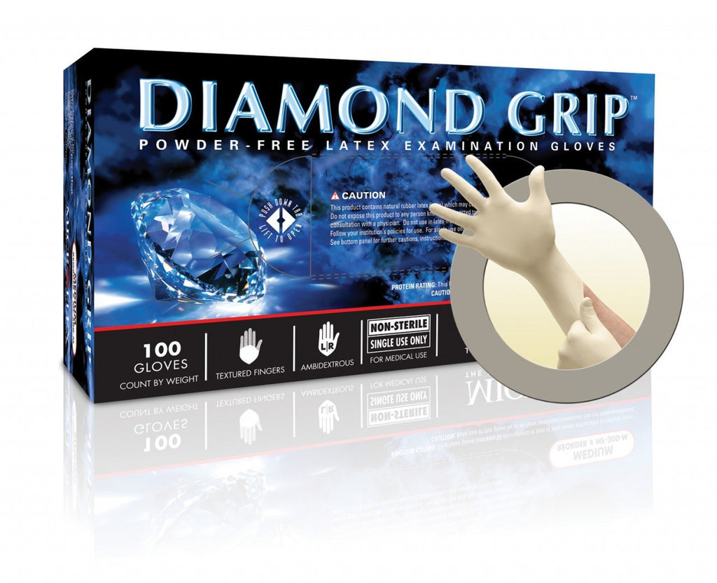 Diamond Grip 6.3 Mil Powder-Free Latex Glove