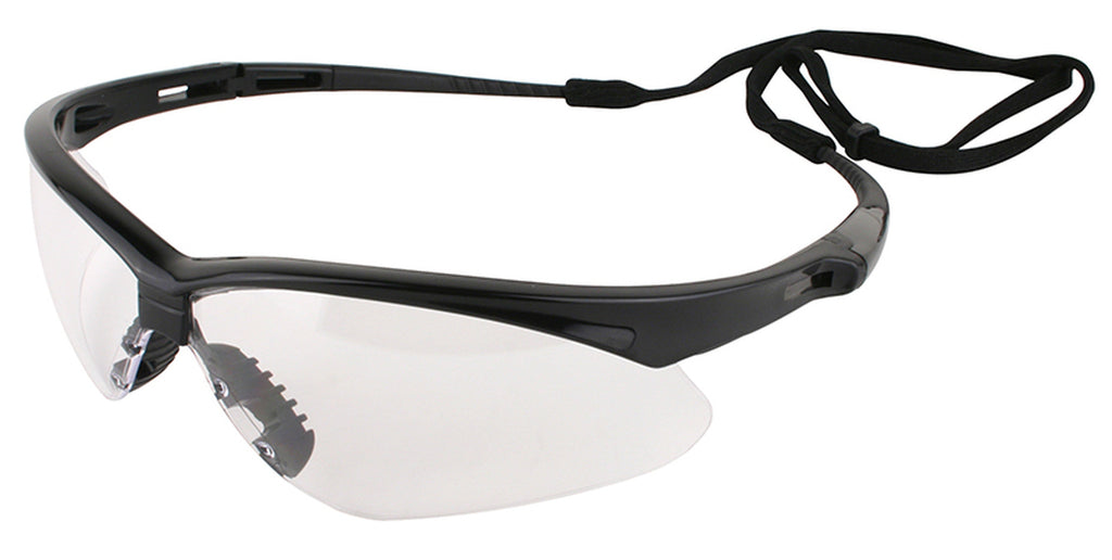Nemesis Black Frame Clear Lens Safety Glasses, 25676