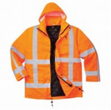 Portwest Hi-Vis Traffic WaterProof Quilt Lined Jacket Orange