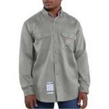 Carhartt Flame Resistant Twill Long Sleeve Shirt, Gray