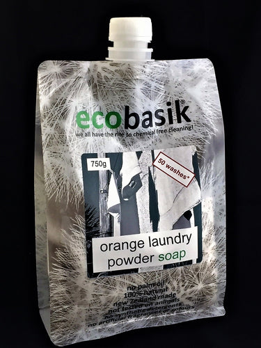 ecobasik - orange laundry powder soap - SAFE cleaning for the home!