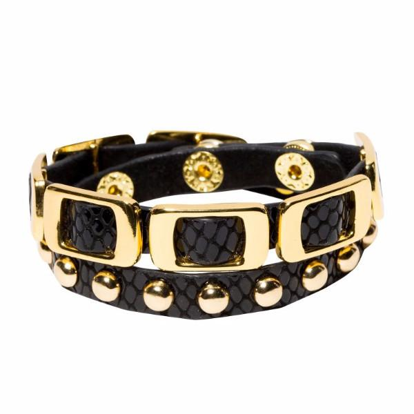 Leather & Gold Bracelet - Double Wrap