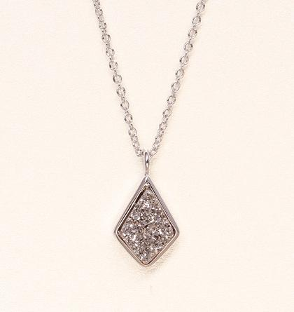 Druzy Drop Necklace - Silver