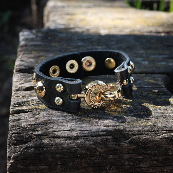 Studded Leather Cuff (Black & Gold)