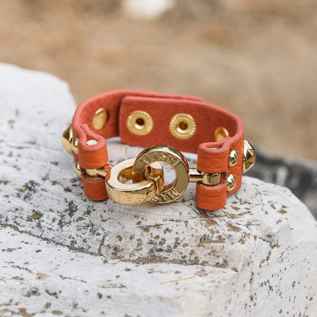 Studded Leather Cuff (Pumpkin & Gold)
