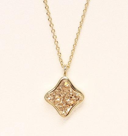 Clover Druzy Necklace - Gold