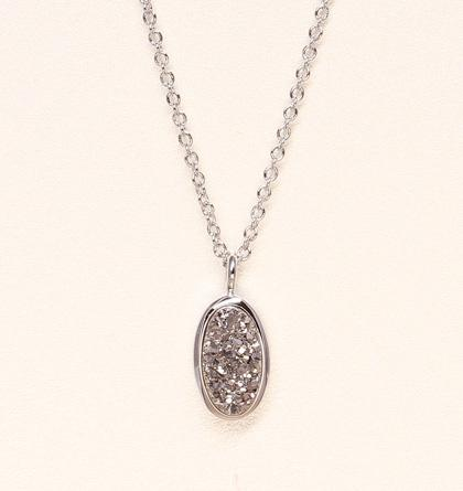 Oval Druzy Necklace - Silver