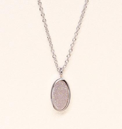 Oval Druzy Necklace - Polar