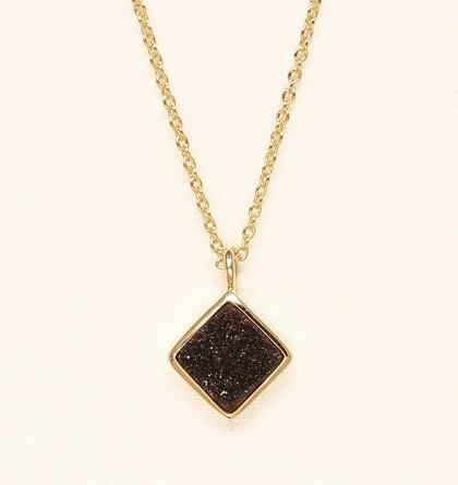 Diamond Druzy Necklace - Black