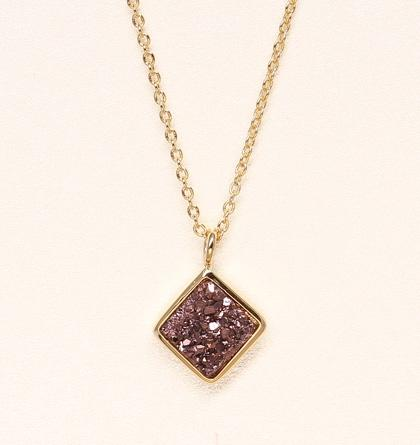 Diamond Druzy Necklace - Chocolate