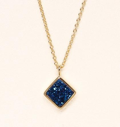 Diamond Druzy Necklace - Cobalt