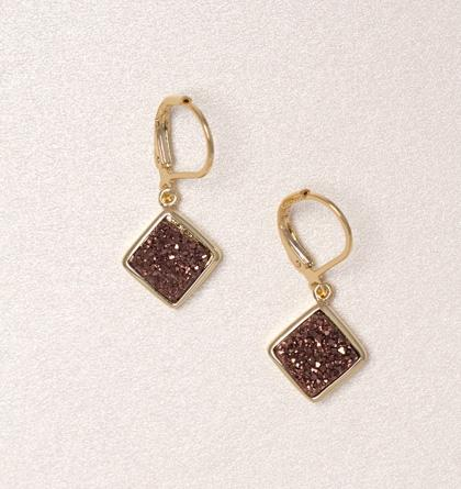 Diamond Druzy Drop Earrings - Chocolate