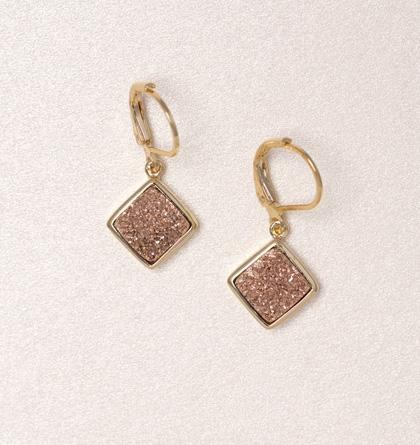 Diamond Druzy Drop Earrings - Rose