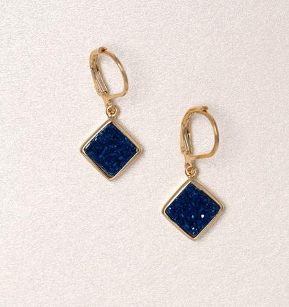 Diamond Druzy Drop Earrings - Cobalt