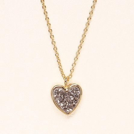 Sweetheart Necklace - Silver Druzy on Gold Chain