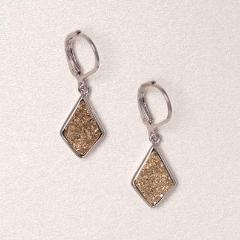 Druzy Drop Earrings - Gold