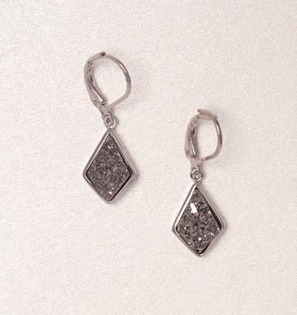 Druzy Drop Earrings - Silver
