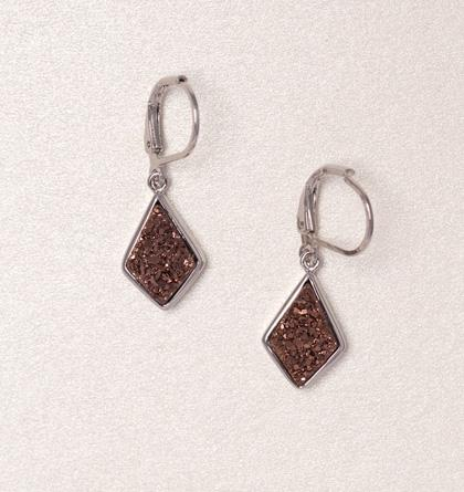 Druzy Drop Earrings - Chocolate