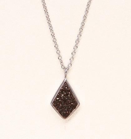 Druzy Drop Necklace - Black