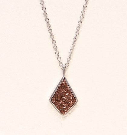 Druzy Drop Necklace - Chocolate