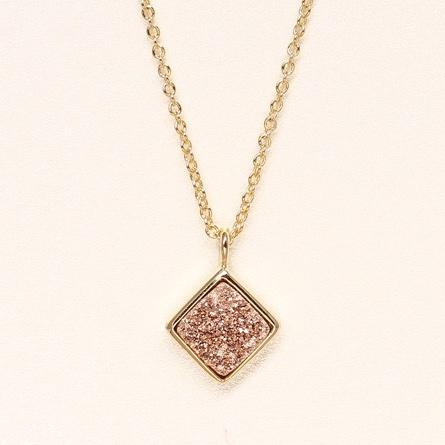 Diamond Druzy Necklace - Rose