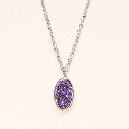 Oval Druzy Necklace - Blue Violet