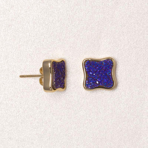 Clover Druzy Earrings - Blue Violet