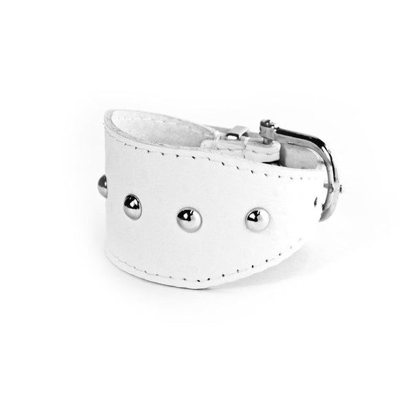 Wide Leather Cuff (White & Silver)