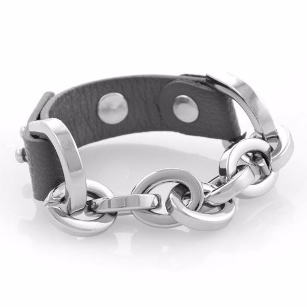 Leather Equestrian Bracelet (Grey/Silver)
