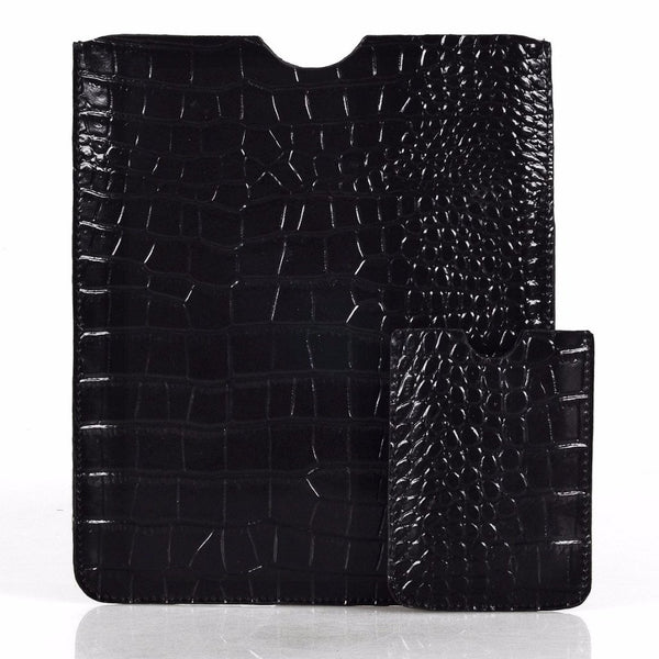 Leather Tablet Sleeve + Purse Pouch Set - Black Crocodile