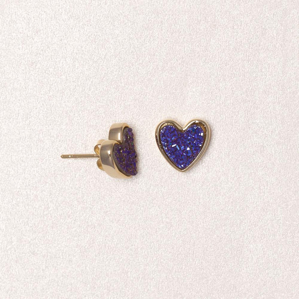 Druzy Sweetheart Earrings (Blue Violet)