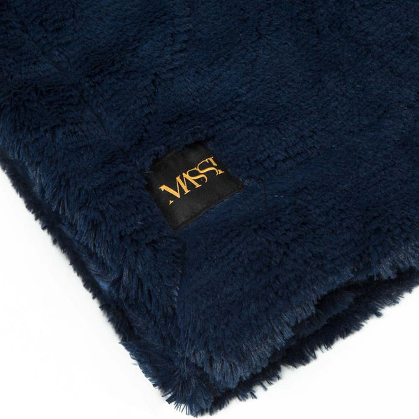 Faux Fur Blanket in Navy