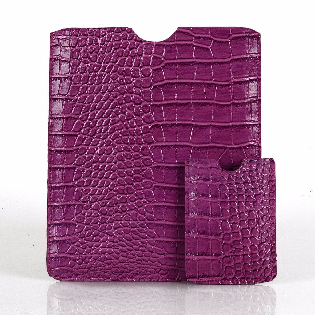 Leather Tablet Sleeve + Purse Pouch Set - Purple Crocodile
