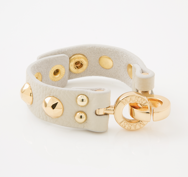 Studded Leather Cuff (Cream & Gold)