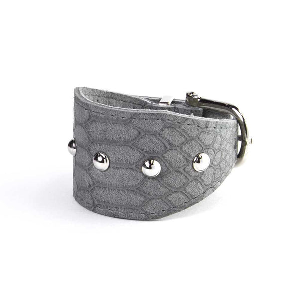 Wide Leather Cuff (Grey & Silver)