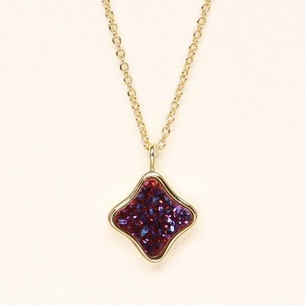Clover Druzy Necklace - Fuschia