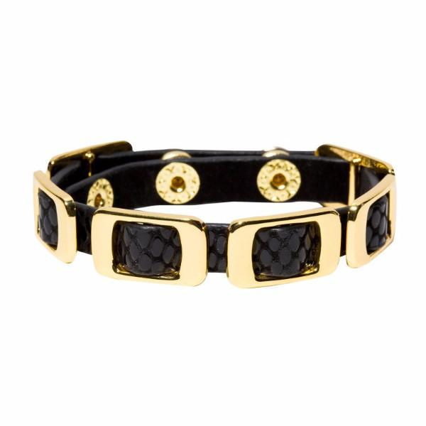Leather & Gold Bracelet - Single Wrap