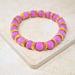 Hot Pink Jade Gemstone Bracelet