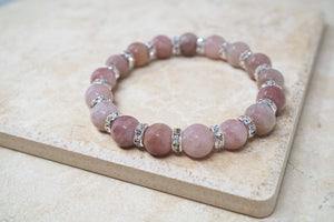 Strawberry Quartz Gemstone & Crystal Bracelet