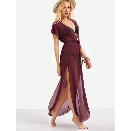 Neck Drawstring Waist Cover Up Dress
