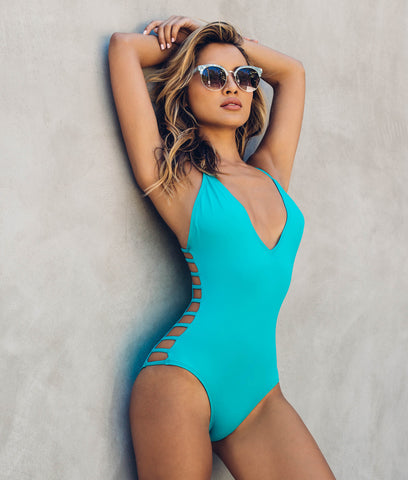 Contrast Trim Cutout One-piece Swimwear