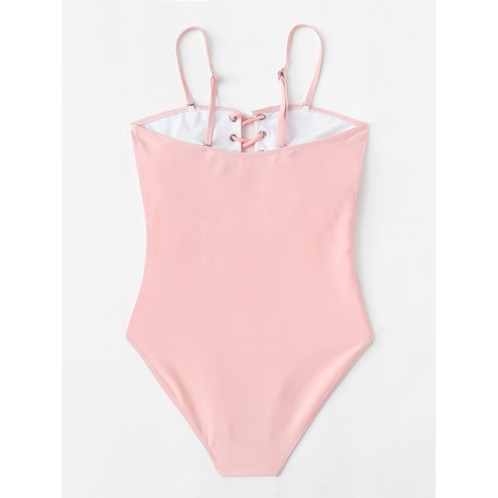 Lace Up Pink Swimsuit