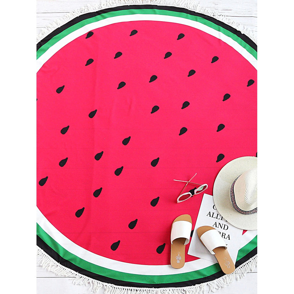 Watermelon Print Fringe Trim Round Beach Blanket