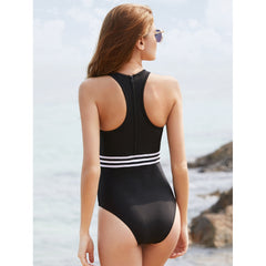Stripe Waist Mesh Insert Zipper Back Swimsuit
