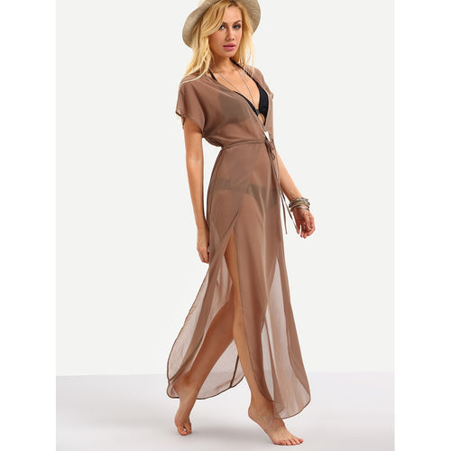 V-Neckline Drawstring Waist Split Dress