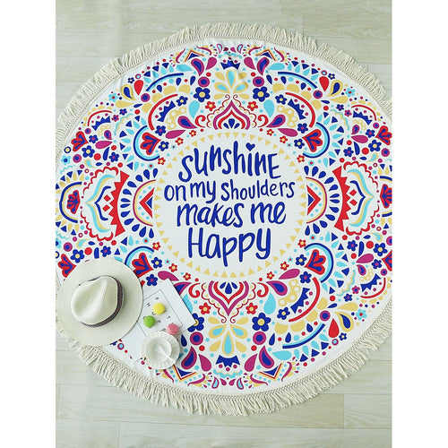 Sunshine Fringe Design Round Beach Blanket
