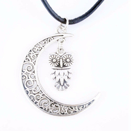 Silver crescent moon with owl pendant charm necklace animal hug silver crescent moon with owl pendant charm necklace aloadofball Image collections