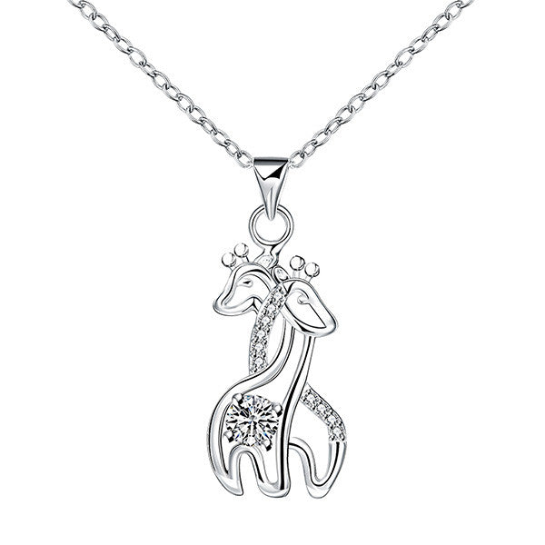 hug quality necklace jewelry diamond pendant silver elegant charm cz design girls animal fine plated products giraffe animals couple