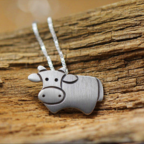 Silver plated cow pendant silver plated cow pendant aloadofball Image collections